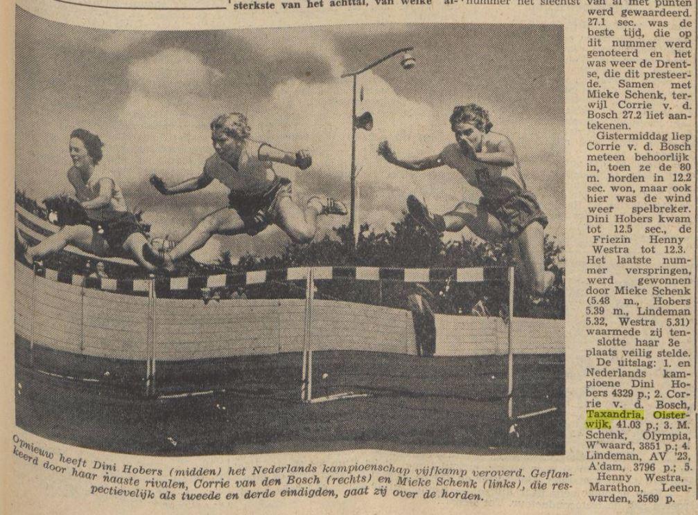 2e plaats bij de nationale vijfkamp in 1958