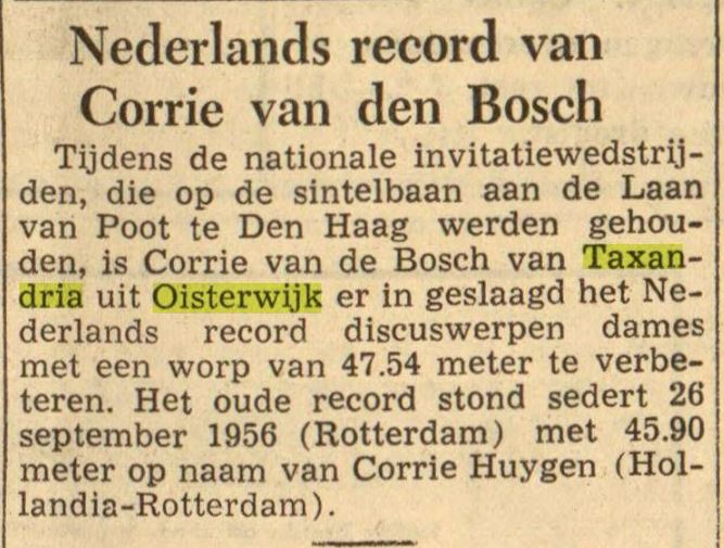 Nederlands record discuswerpen in 1959
